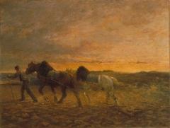 Couvent des Ursulines - Chevaux à la herse, peinture d'Emile Jacque réalisée durant le 1er quart du 20e siècle, conservée à Mâcon, au musée des Ursulines