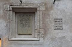 Immeuble dit La maison de Bois - Français:   Plaque apposée sur la maison de bois, Mâcon.