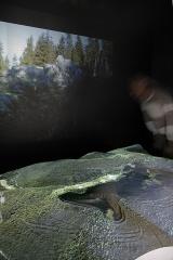 Oppidum du Mont-Beuvray, dit aussi oppidum de Bibracte (également sur commune de Glux-en-Glenne, dans la Nièvre) - English: Bibracte Museum. Relief model of Mount Beuvray with two digital projections. Nièvre and Saône-et-Loire, Burgundy, France.