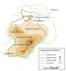 Oppidum du Mont-Beuvray, dit aussi oppidum de Bibracte (également sur commune de Glux-en-Glenne, dans la Nièvre) -  Map in Spanish from Bibracte