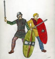 Oppidum du Mont-Beuvray, dit aussi oppidum de Bibracte (également sur commune de Glux-en-Glenne, dans la Nièvre) - עברית: Français: Guerriers celtes gaulois, Ier siècle av JC