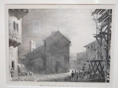Eglise Saint-Valérien - English:   Facade of the church of the sisters of the black veil (today church Saint-Valerian disused since the Revolution) in Tournus (Saône-et-Loire, France) - Godefroy Engelmann (1788-1839). 1825.