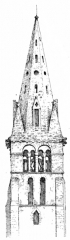 Eglise - English: Fig 63 -Tower and spire of Chamant. From scan of book