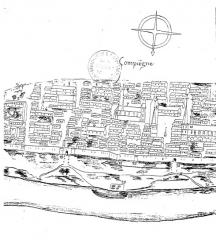 Ancienne abbaye de Saint-Corneille, abritant la Bibliothèque municipale Saint-Corneille -  Compiègne abbaye Saint-Corneille Picardie Famille Mottet, Plan de Compiègne