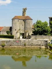 Restes du château -  Vue depuis la place du village; au premier plan, l'abreuvoir.