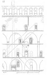 Restes du château -  ... La figure 45 donne le développement de l'intérieur de la tour de Montépilloy de e en f (voyez au plan, fig. 43). Les escaliers, pris aux dépens  de l'épaisseur du mur cylindrique, sont indiqués par des lignes ponctuées. En A est la poterne, et en B, au-dessus, la chambre de la herse et du mâchicoulis. En C, les arcades qui, de l'étage supérieur,  donnaient sur la galerie des hourds avant la surélévation du XVe siècle ...