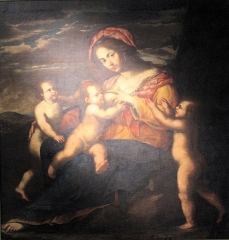 Ancien évêché - English: Giacinto de Popoli, allegory of the charity, Musée du Noyonnais, temporary exhibition in Musée départemental de l'Oise