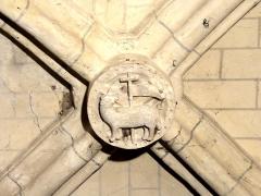 Eglise - Français:   Chœur nord, 1ère travée, clé de voûte.
