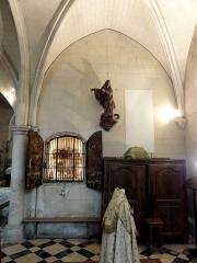 Eglise - Français:   Chœur nord, 1ère travée, côté sud (base du clocher).