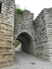 Ruines de l'ancien château et la butte sur laquelle elles sont situées - English:   The Saint-Jean gate of the castle of Château-Thierry (Aisne, France).