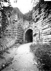 Ruines de l'ancien château et la butte sur laquelle elles sont situées -