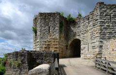 Ruines de l'ancien château et la butte sur laquelle elles sont situées - Français:   Porte-St-Jean du chateau de  Chateau-Thierry, Aisne, France