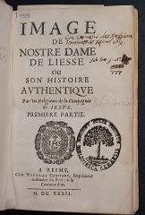 Basilique Notre-Dame - Français:   histoire de Notre Dame de liesSe à liesse notre dame dans l\'aisne. Imprimé par Constant à Reims.