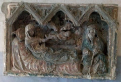 Eglise Notre-Dame de l'Assomption - Corbie, église de La Neuville, bas-relief de la Nativité 1