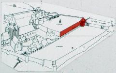 Ruines du château -  Picquigny (Somme, France) -   Château.   Schéma du panneau informatif (à propos du programme de restauration) apposé sur le rempart, à gauche de la Porte du Gard.