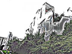Ruines du château -  Picquigny (Somme, France) - Chemin montant au château.   Traitement numérique pour essai, afin de comparer avec le dessin de Louis Duthoit (vue sous le même angle ou presque).