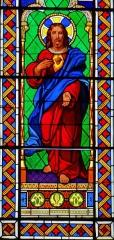 Eglise Notre-Dame-des-Pommiers - Français:   Largentière - Église Notre-Dame-des-Pommiers - Vitrail du Sacré Coeur de Jésus