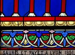 Eglise Notre-Dame-des-Pommiers - Français:   Largentière - Église Notre-Dame-des-Pommiers - Signature d\'un vitrail