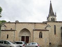 Eglise Notre-Dame-des-Pommiers - Français:   Largentière - Église Notre-Dame-des-Pommiers - Façade sud et portail méridional
