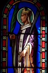Eglise - Deutsch: Bleiglasfenster in der Kirche Sainte-Croix in La Baume-de-Transit, Darstellung: hl. fr:Frédéric d'Utrecht