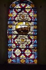 Ancienne cathédrale, actuellement Eglise Notre-Dame - Deutsch: Bleiglasfenster in der Kathedrale Notre-Dame in Die, Darstellung: Jesus als Kind auf einem Kreuz schlafend