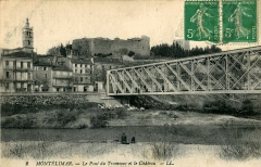 Château des Adhémar ou des Papes - Français:   Carte postale ancienne éditée par LL, n°2 : MONTELIMAR - Le Pont du Tramway et le château