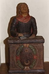 Eglise Saint-Philibert -  Statue of St. Crispin, patron saint of shoemakers and leatherworkers (15 century).