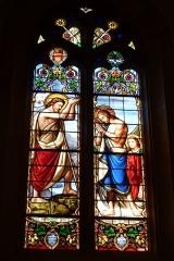 Eglise Saint-Philibert - Deutsch: Bleiglasfenster in der Kirche Saint-Philibert in Charlieu, Darstellung: Johannes der Täufer tauft Jesus