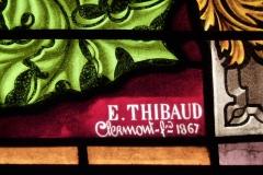 Eglise Saint-Philibert -  Bleiglasfenster in der Kirche Saint-Philibert in Charlieu, Darstellung: Szenen aus dem Leben Mariens (Ausschnitt aus file 461 mit der Signatur: