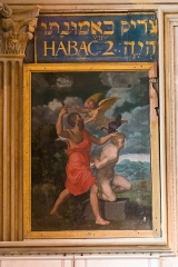 Château de la Bastie-d'Urfé - English:  Binding of Isaac: An angel stopped the knife of Abraham about to sacrifice Isaac (Gen. 22: 11-12). In the cartridge: ...but the just shall live in his faith'.' (Hab 2: 4)
