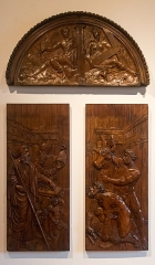 """Château de la Bastie-d'Urfé - English:  Vooden carved panels of walnut, outer door of the chapel, (about 550). At the tympanum angels carrying the instruments of the passion: cross, crown of thorns, nails ... On the leaves Moses orders Aharon to prepare an atoning sacrifice. (Lev 9:1;2: On the eighth day, Moses summoned Aaron and his sons, together with the elders of Israel, and said to Aaron, """"Take a calf of the herd for a purification offering and a ram for a burnt offering, both without blemish, and offer them before the LORD.)"""