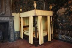 Château de la Bastie-d'Urfé - English:  The bed of Claudius of Urfé, surrounded by Aubusson tapestries, Castle Bastie d'Urfe, St. Stephen the Molard, Loire, France.