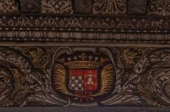 Château de la Bastie-d'Urfé - English:  Arms of a branch of the family d'Urfé at the ceiling of the Claude d'Urfé's bedroom;