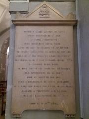 Eglise Saint-Just - Français:   Plaque Abbé Lacroix de Laval 1824.