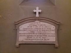 Eglise Saint-Just - Français:   Plaque Jean Pierre Garcin et Marie Pupier.
