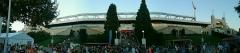 Stade municipal dit stade Gerland - Français:   Vue panoramique de l\'extérieur de la tribune Jean Jaures du stade de Gerland.