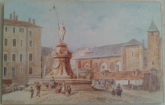 Archevêché - English: A painting of Lans Fountain at the Musée Savoisien museum on April 28, 2014. The fountain was on the Place de Lans (since renamed Place de l'hôtel de ville) and was destroyed in 1864. The statue which was on top is conserved at the Musée Savoisien museum.
