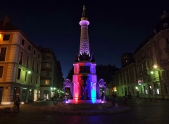 Fontaine des Eléphants - English: Sight of the fontaine des éléphants fountain of Chambéry in Savoie (France), illuminated with the colors of France in dedication to the victims of the National Day attacks in Nice.