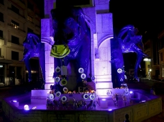 Fontaine des Eléphants - English: Sight, by night, of a temporary memorial dedicated from the 'Yellow vests' people to those wounded or dead since the beginning of the movement 2 months earlier, on the fontaine des éléphants fountain in Chambéry, Savoie, France.