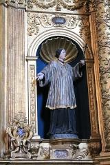 Eglise de Conflans - Français:   Statue de Saint Louis de Gonzague située dans la partie droite du retable de l\'église Saint-Grat (Conflans)