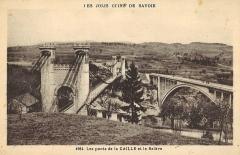 Pont suspendu de la Caille (également sur commune de Cruseilles) -  Les jolis coins de Savoie  Carte postale des ponts de la Caille et vue sur le Salève (Savoie)