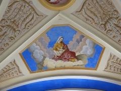 Eglise Saint-Nicolas-de-Véroce - Représentation de la vertu de la charité dans l'église Saint-Nicolas-de-Véroce située à Saint-Gervais-les-Bains, Haute-Savoie, France.