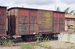 Ligne à voie ferrée métrique le Blanc-Argent (ou B.A.) sur le tronçon Luçay-le-Malé-Argy - Français:   Le wagon couvert K 291 en gare de Valençay le 14 ocotbre 1989.