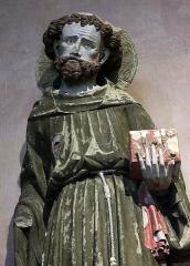 Ancien couvent des Cordeliers - Français:   Saint François d\'Assise, calcaire polychrome, par le \