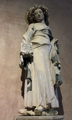 Ancien couvent des Cordeliers - Français:   Saint Jean l\'Evangéliste, calcaire polychrome, par le \
