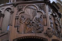 Eglise du Centre ou Saint-Clodoald - Deutsch: Katholische Pfarrkirche Saint-Clodoald in Saint-Cloud im Département Hauts-de-Seine (Île-de-France/Frankreich), Kanzel, Relief mit der Darstellung der Anbetung der Hirten