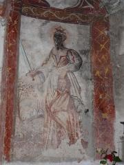 Eglise Saint-Geniès de Benque-Dessous - Français:   Hérodiade (ou Salomé) tient la tête de saint Jean Baptiste, fresque du chœur de l\'église Saint-Geniès de Benque-Dessous, Haute-Garonne, France.