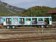 Gare - English: A carriage of MP 59 (A 6097 of the n°097, RATP) parked at the scrapyard of Culoz (Ain, France) on October 14, 2018.
