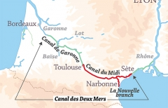 Canal du Midi - English: Location of the Canal du Midi and its branch to Port-la-Nouvelle, part of the Canal des Deux Mers route from the Mediterranean Sea to the Atlantic