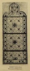 Ateliers de fabrication de vitraux, dits Ateliers Lorin - Français:   photographie de vitrail dans le catalogue de Charles Lorin et Cie (années 1930), église Notre-Dame de Burcy, Calvados, France.